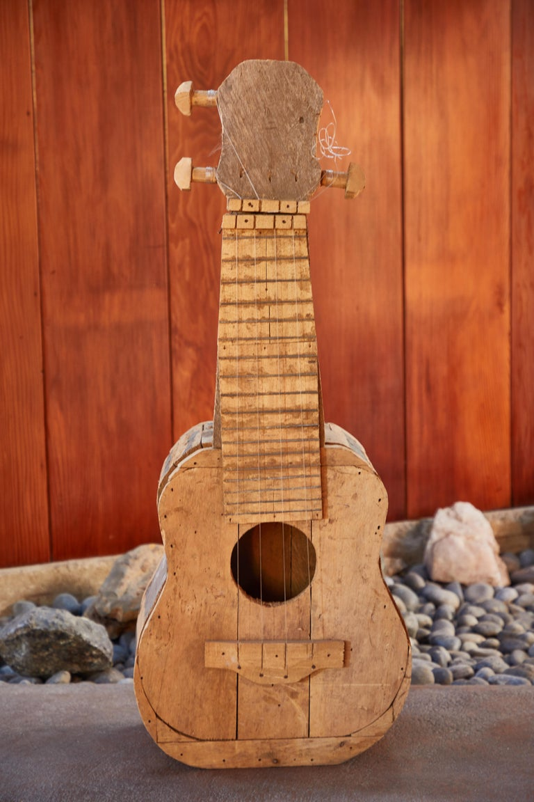 20th Century Large Reclaimed Wood Guitar Sculpture by African Folk Artist Nii Adum For Sale