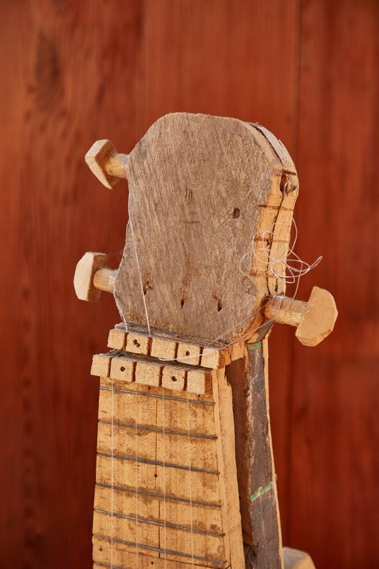 Large Reclaimed Wood Guitar Sculpture by African Folk Artist Nii Adum For Sale 1