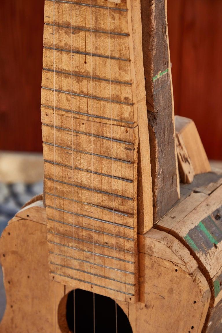 Large Reclaimed Wood Guitar Sculpture by African Folk Artist Nii Adum For Sale 2