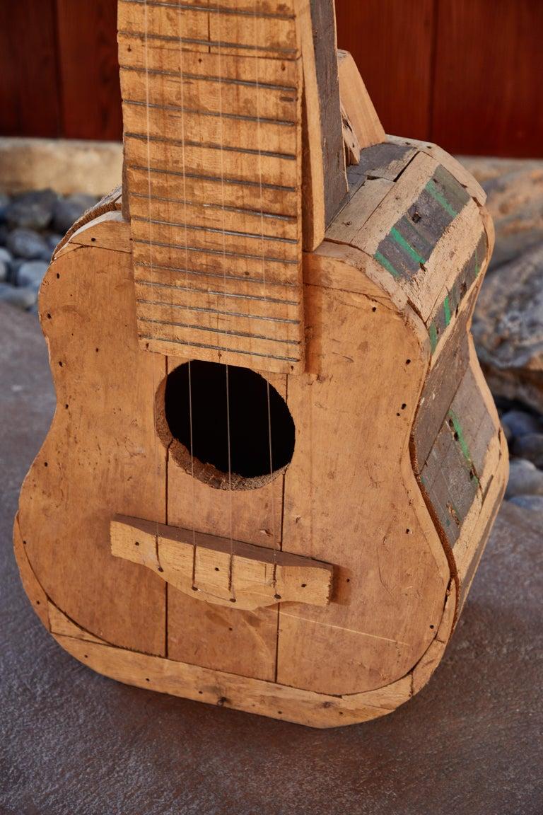Large Reclaimed Wood Guitar Sculpture by African Folk Artist Nii Adum For Sale 4