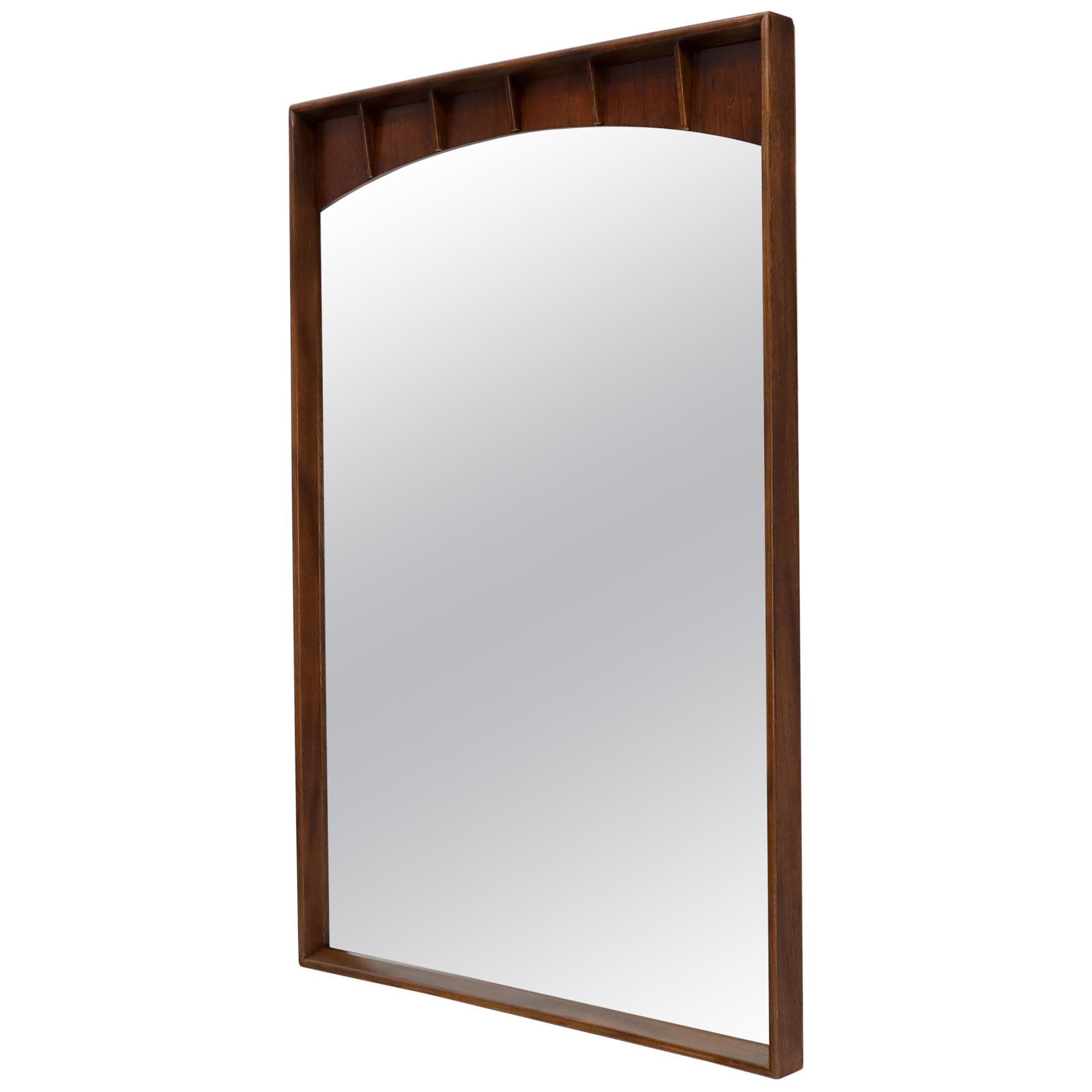 Large Rectangle Mid-Century Modern Walnut Wall Mirror