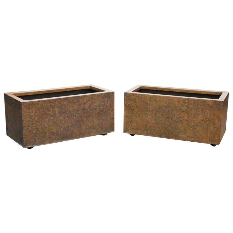 Large Rectangular Architectural Fiberglass Planters by Forms and Surfaces For Sale