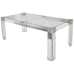 Large Rectangular Bent Lucite Base Glass Top Dining Conference Table