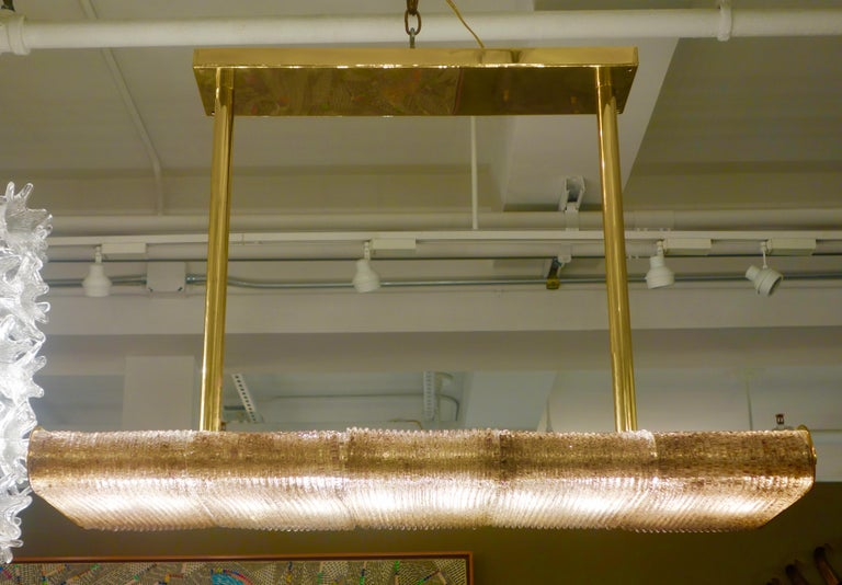 Mid-Century Modern Large Rectangular Brass and Bronze Murano Glass Chandelier For Sale