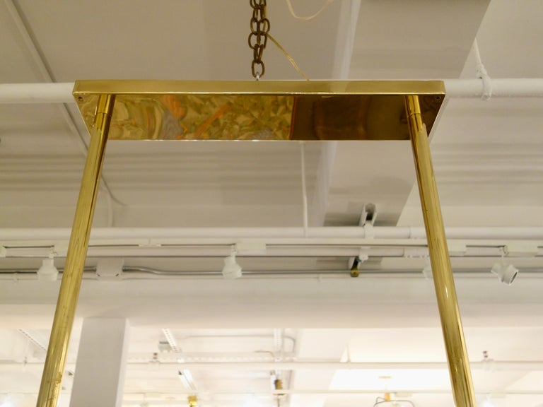 Hand-Crafted Large Rectangular Brass and Bronze Murano Glass Chandelier For Sale