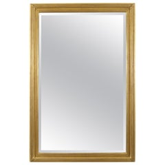 Large Rectangular Brass Mirror with Neoclassical Detail