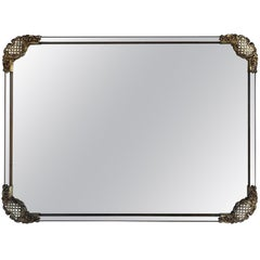 Large Mid-Century Modern Rectangular Cast Iron Wall Mirror