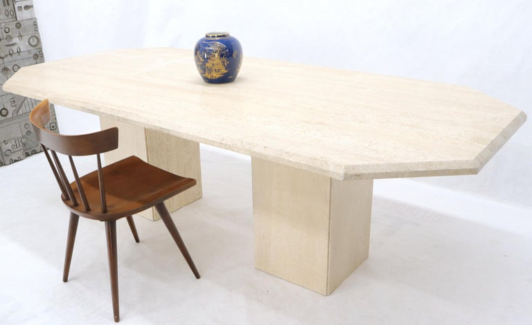 Large Rectangular Double Pedestal Travertine Dining or Conference Table For Sale 5