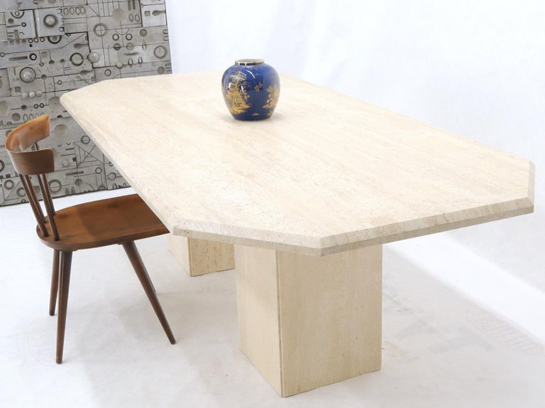 Large Rectangular Double Pedestal Travertine Dining or Conference Table For Sale 6
