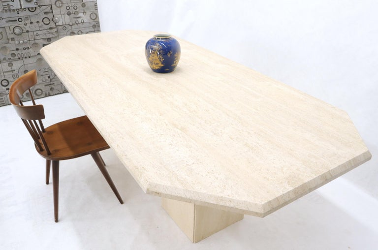 Large Rectangular Double Pedestal Travertine Dining or Conference Table For Sale 7