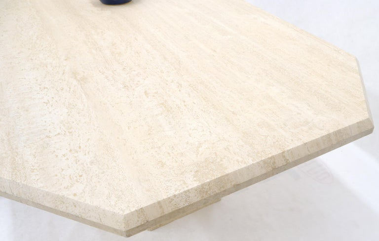 Large Rectangular Double Pedestal Travertine Dining or Conference Table For Sale 8