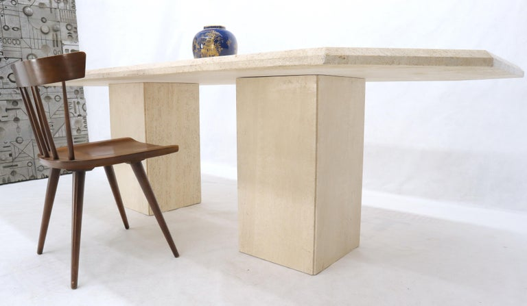 Large Rectangular Double Pedestal Travertine Dining or Conference Table For Sale 9