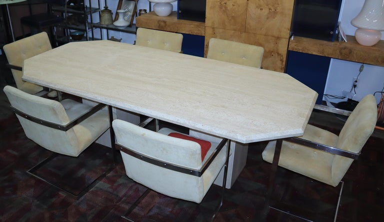 Mid-Century Modern Large Rectangular Double Pedestal Travertine Dining or Conference Table For Sale