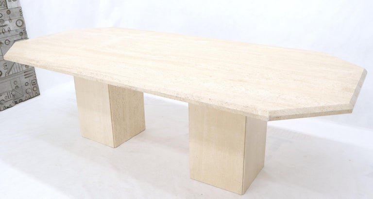 Italian Large Rectangular Double Pedestal Travertine Dining or Conference Table For Sale