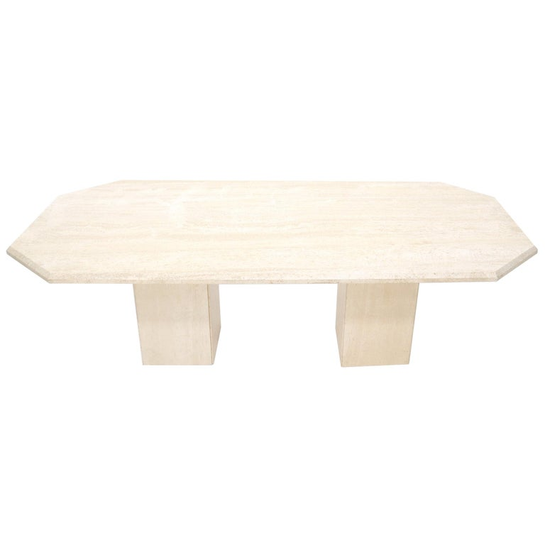 Large Rectangular Double Pedestal Travertine Dining or Conference Table For Sale
