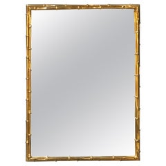 Large Rectangular Faux Bamboo Brass Wall Mirror, Italy, 1960s