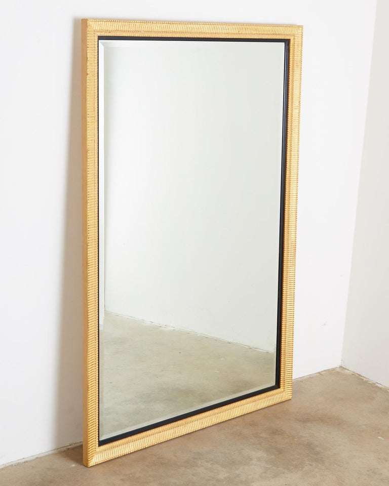 Large Rectangular Gilt Wood Wall Mirror with Beveled Glass For Sale 4