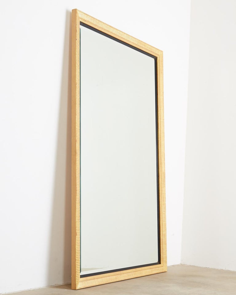Large Rectangular Gilt Wood Wall Mirror with Beveled Glass For Sale 5