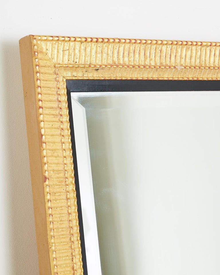 Large Rectangular Gilt Wood Wall Mirror with Beveled Glass For Sale 6