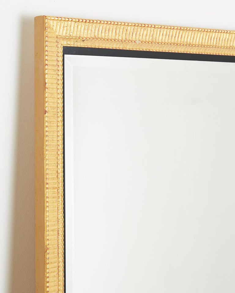 Large Rectangular Gilt Wood Wall Mirror with Beveled Glass For Sale 7