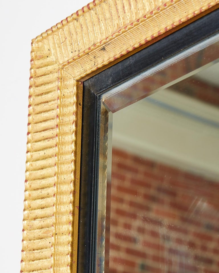 Large Rectangular Gilt Wood Wall Mirror with Beveled Glass For Sale 9