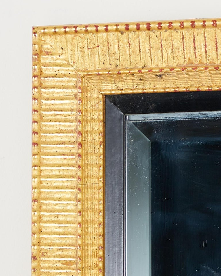 Large Rectangular Gilt Wood Wall Mirror with Beveled Glass For Sale 11