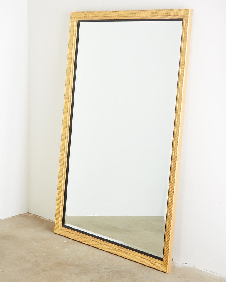 American Large Rectangular Gilt Wood Wall Mirror with Beveled Glass For Sale