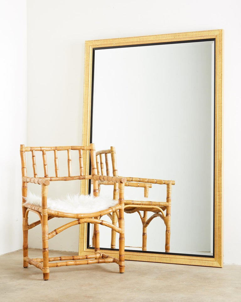 Large Rectangular Gilt Wood Wall Mirror with Beveled Glass In Good Condition For Sale In Rio Vista, CA
