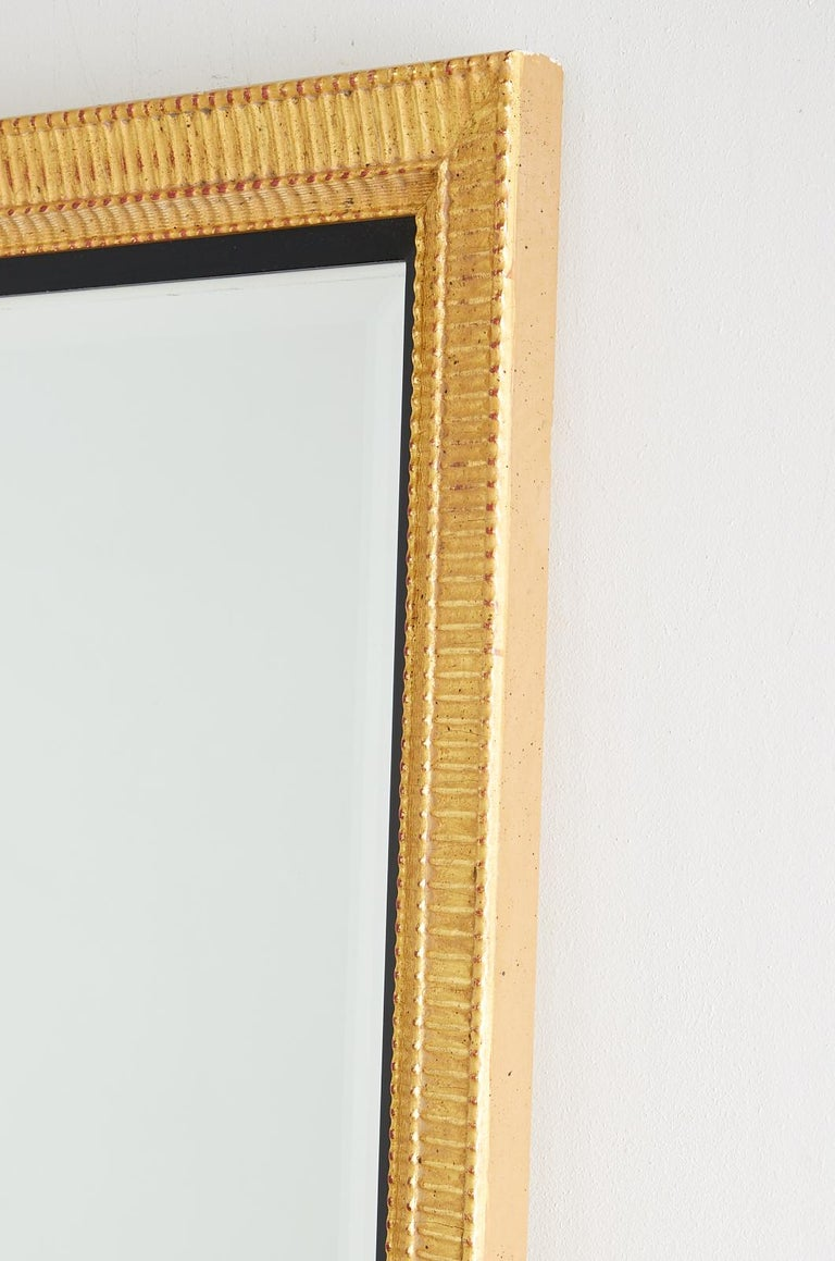 Contemporary Large Rectangular Gilt Wood Wall Mirror with Beveled Glass For Sale