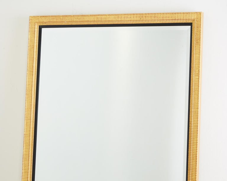 Large Rectangular Gilt Wood Wall Mirror with Beveled Glass For Sale 1