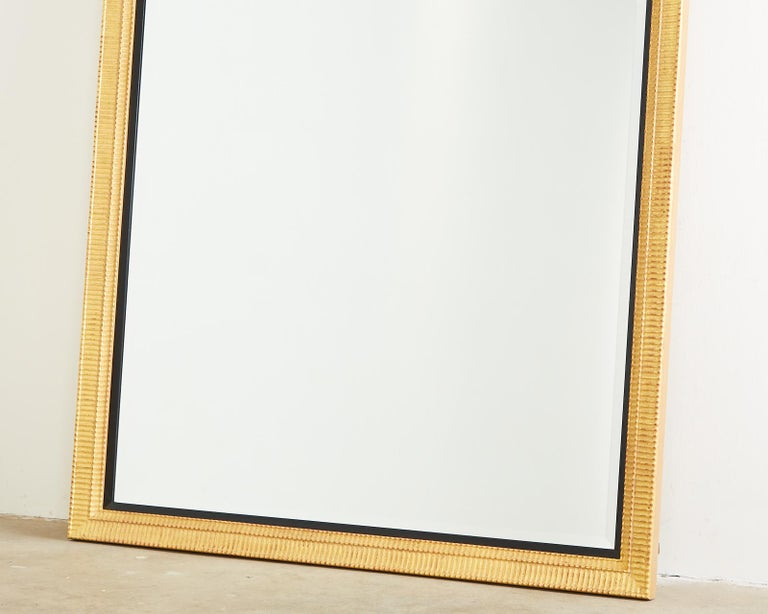 Large Rectangular Gilt Wood Wall Mirror with Beveled Glass For Sale 2
