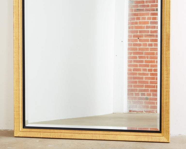 Large Rectangular Gilt Wood Wall Mirror with Beveled Glass For Sale 3