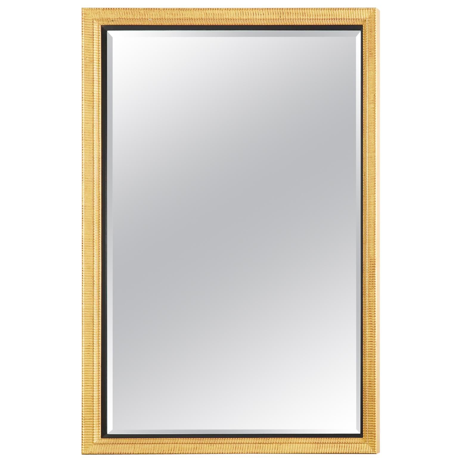 Large Rectangular Gilt Wood Wall Mirror with Beveled Glass
