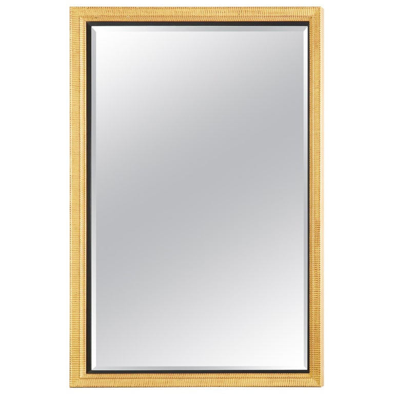 Large Rectangular Gilt Wood Wall Mirror with Beveled Glass For Sale