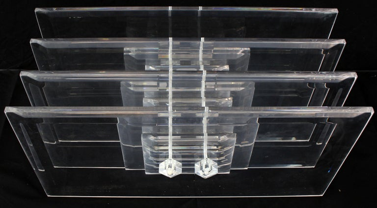 Polished Large Rectangular Glass Top Thick Stack Lucite Blades Base Coffee Table For Sale