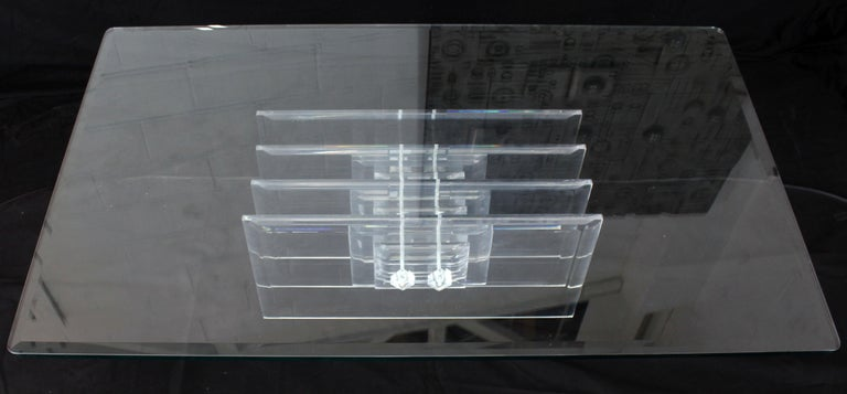 Large Rectangular Glass Top Thick Stack Lucite Blades Base Coffee Table In Excellent Condition For Sale In Rockaway, NJ