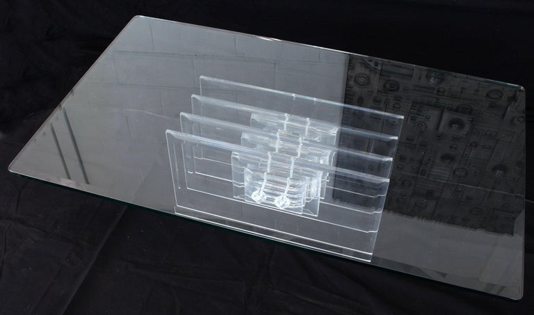 20th Century Large Rectangular Glass Top Thick Stack Lucite Blades Base Coffee Table For Sale