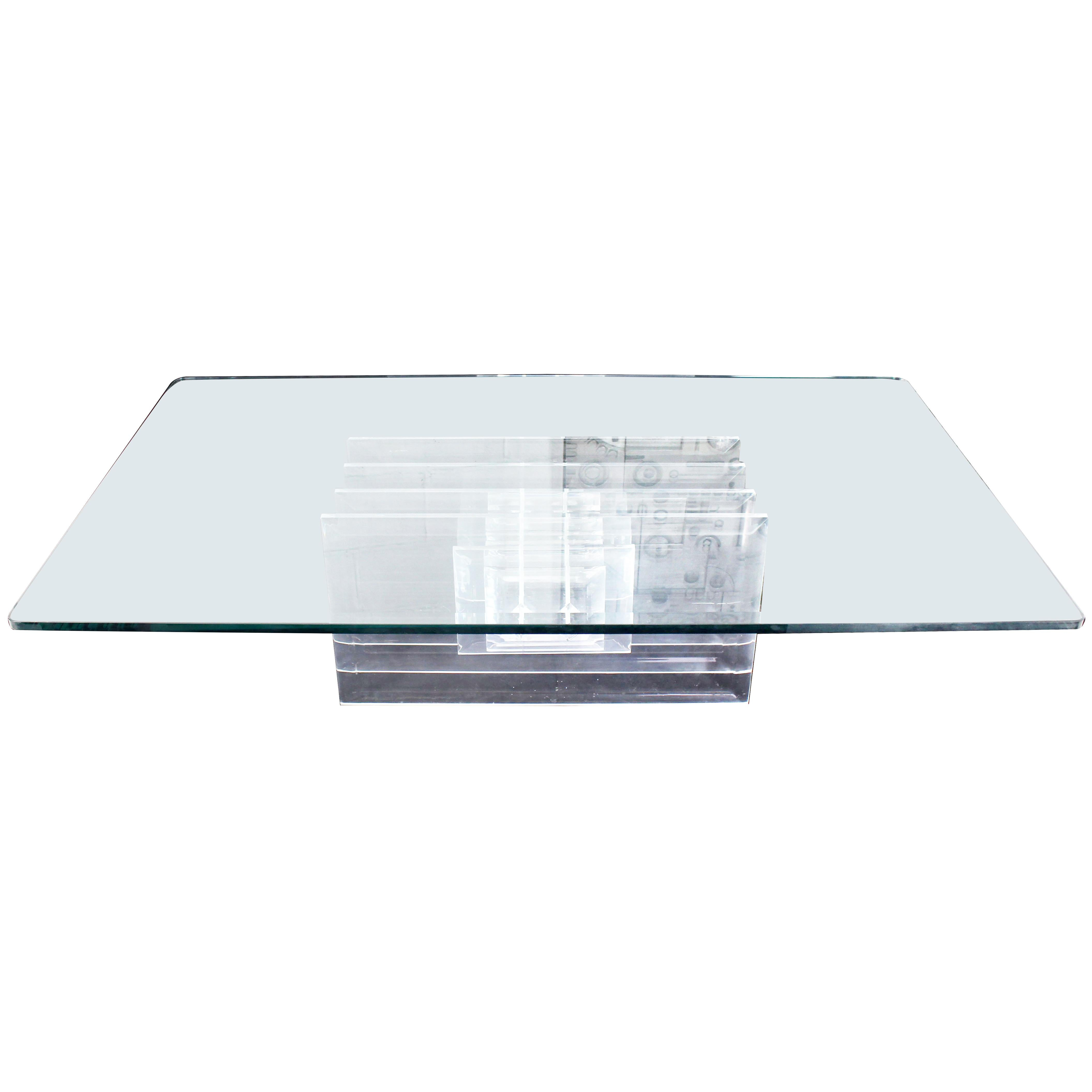 Large Rectangular Glass Top Thick Stack Lucite Blades Base Coffee Table