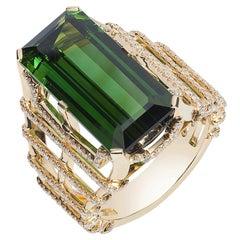 Goshwara Rectangular Green Tourmaline And Diamond Ring