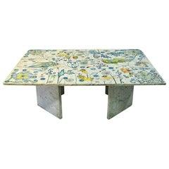 Large Rectangular Marble Table by Jan Tom Van den Bergen, 1984 Netherlands