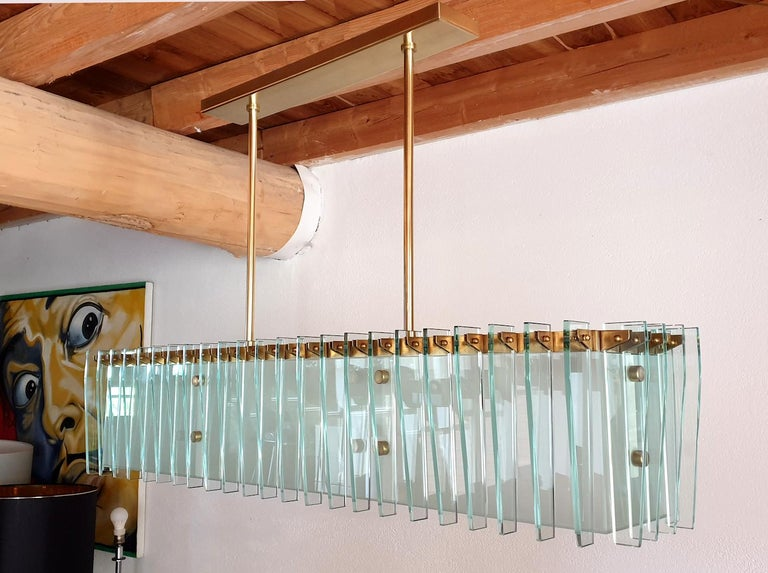 Painted Large Rectangular Mid-Century Modern Glass & Brass Chandelier by Dominici Brazil For Sale