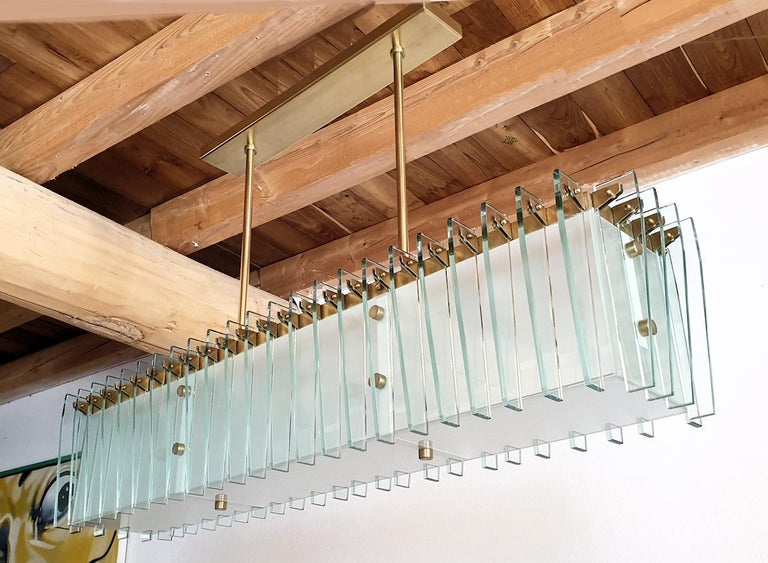 Large Rectangular Mid-Century Modern Glass & Brass Chandelier by Dominici Brazil In Excellent Condition For Sale In Dallas, TX