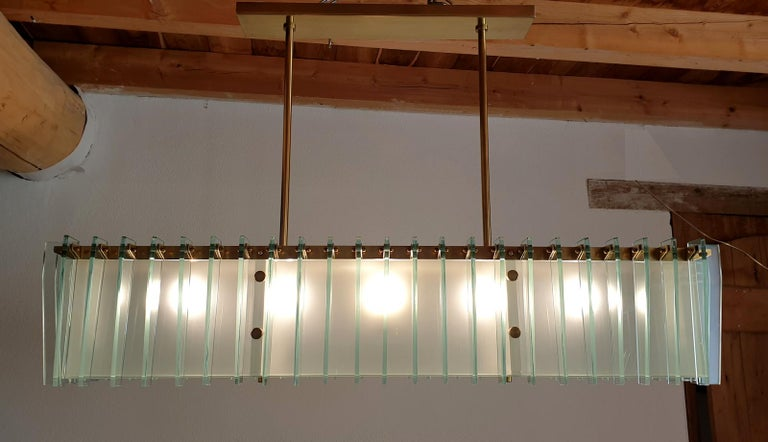 Metal Large Rectangular Mid-Century Modern Glass & Brass Chandelier by Dominici Brazil For Sale