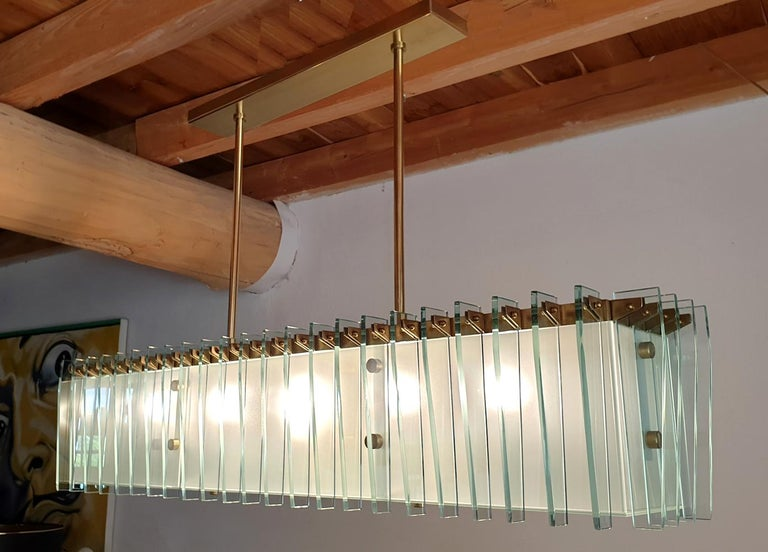 Large Rectangular Mid-Century Modern Glass & Brass Chandelier by Dominici Brazil For Sale 1