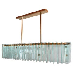 Large Rectangular Mid-Century Modern Glass & Brass Chandelier by Dominici Brazil