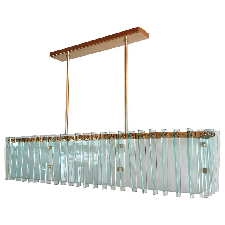 Large Rectangular Mid-Century Modern Glass & Brass Chandelier by Dominici Brazil For Sale