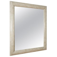 Large Rectangular Minimal Postmodern White Tessellated Stone Mirror, 1990s