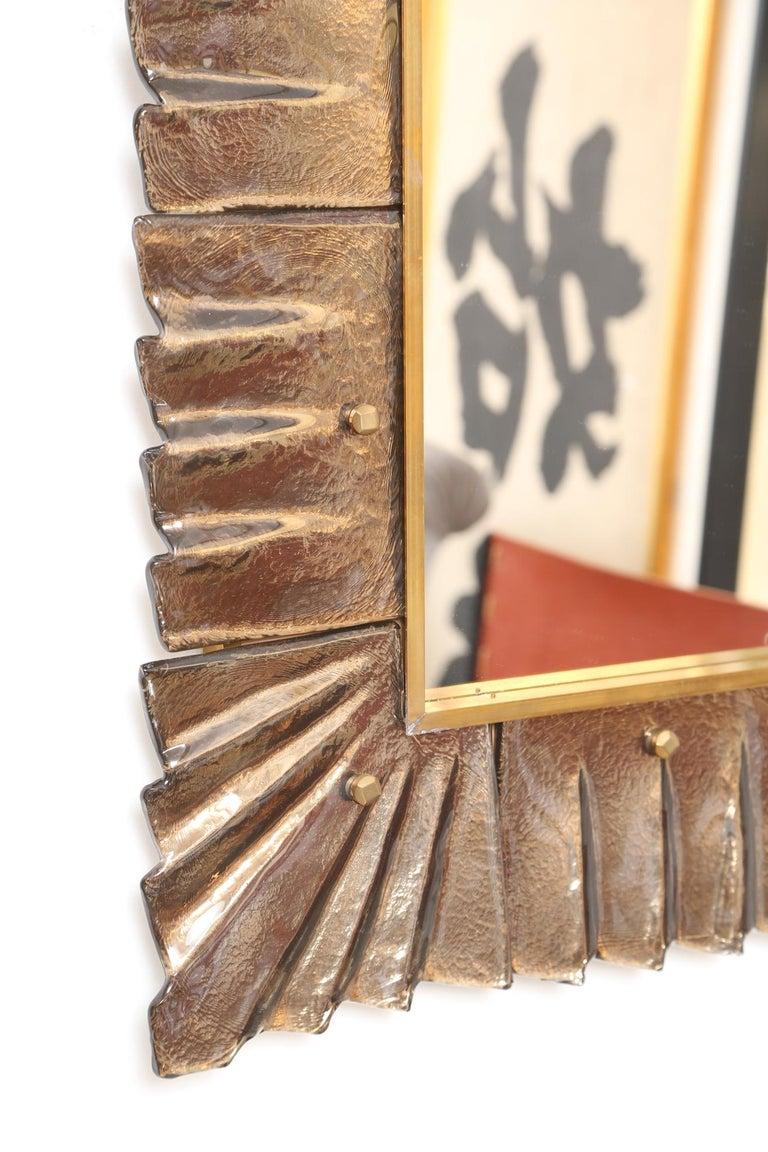 Mid-Century Modern Large Rectangular Murano Amber Glass Framed Mirror For Sale