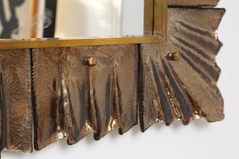 Large Rectangular Murano Amber Glass Framed Mirror For Sale 2