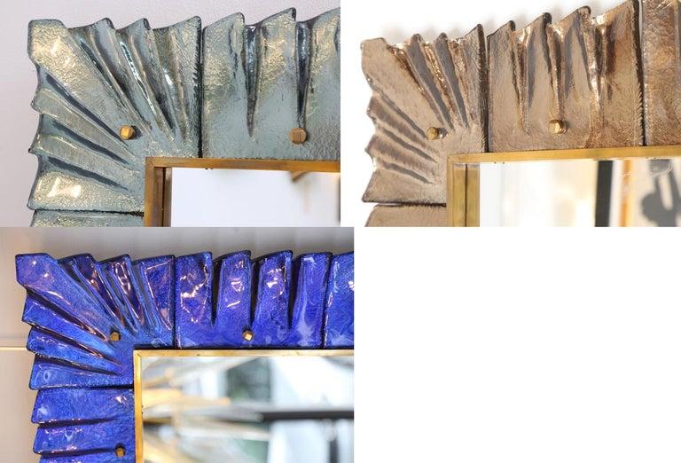 Large Rectangular Murano Amber Glass Framed Mirror For Sale 4